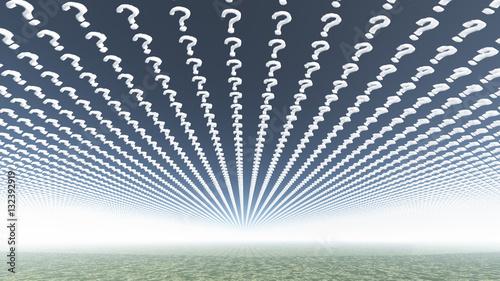 Fotografie, Obraz  Clouds in shape of question marks