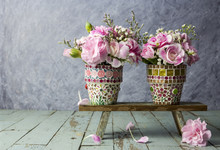 Pink Carnation In Mosaic Flower Pot