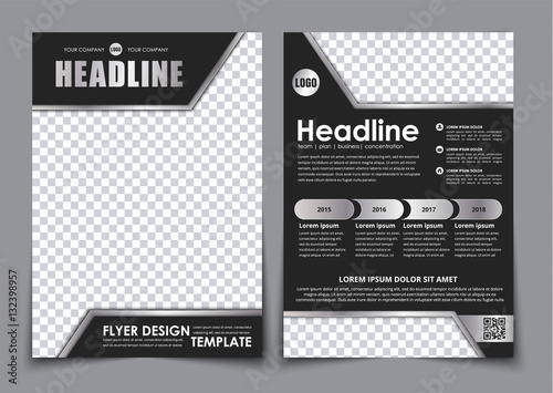Photo  Template black A4 brochure with chrome elements