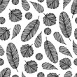 Seamless pattern with hand drawn floral elements.