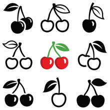 Cherry Icon Collection - Vector Outline And Silhouette