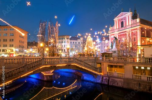 Triple bridge, illuminated for New Years celebration, Ljubljana,