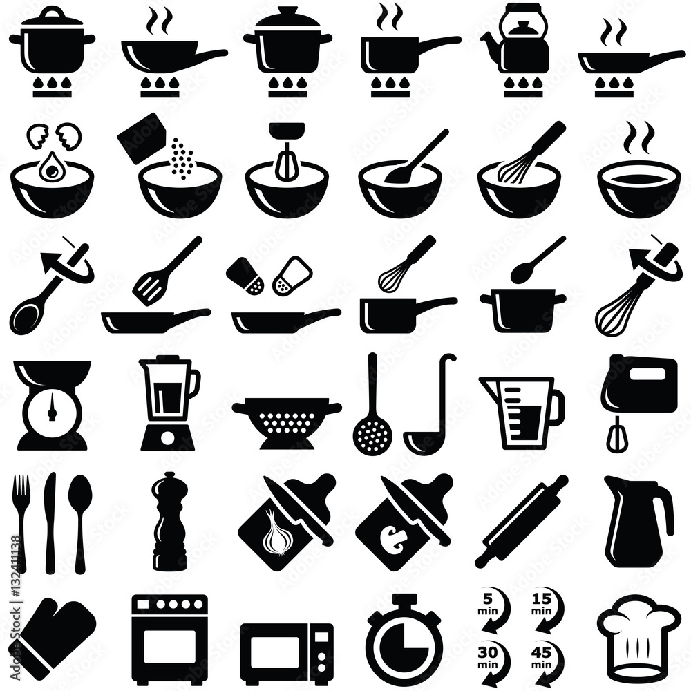 Fototapety, obrazy: Cooking and kitchen icon collection - vector silhouette
