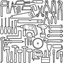 Construction Tool Collection - Vector Outline Illustration