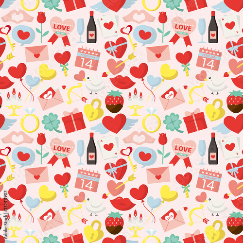 Materiał do szycia バレンタインデーのシームレスパターン背景素材
