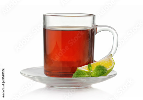 Tea Tea cup with fresh mint and lime isolated