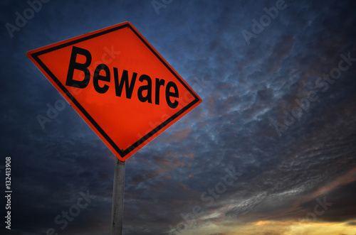 Orange storm road sign of Beware Принти на полотні