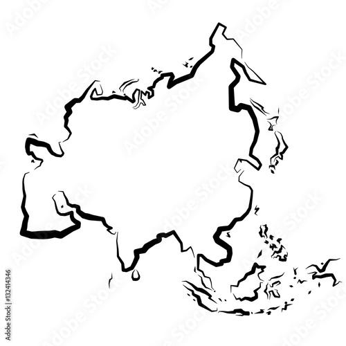 Azja Mapa Konturowa Buy This Stock Vector And Explore Similar