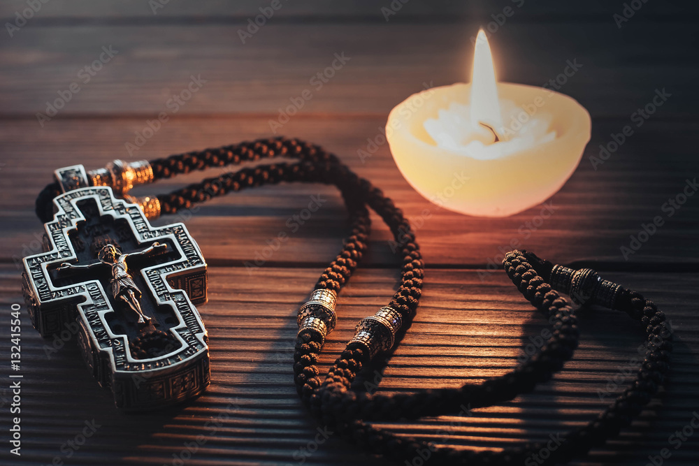 Fototapety, obrazy: Silver orthodox cross on a wooden texture