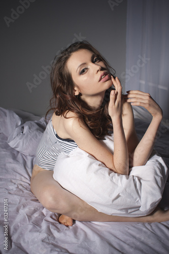 Fototapety, obrazy: Beautiful Brunette Woman Portrait on Bed Home Alone