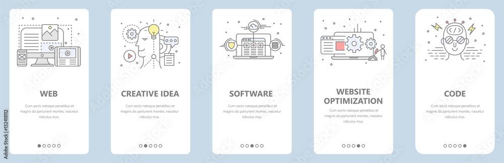 Fototapeta Vector thin line flat design, web development concept banners