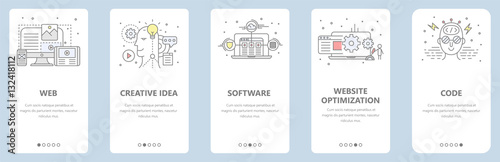 Obraz Vector thin line flat design, web development concept banners - fototapety do salonu
