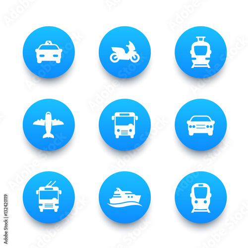 Passenger transport icons set, bus, subway, tram, train, taxi, car