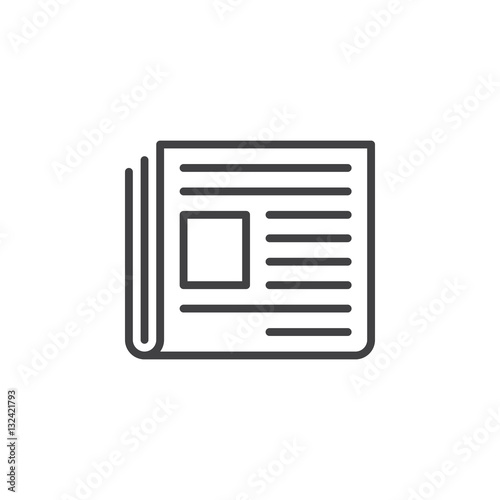 Foto Newspaper line icon, outline vector sign, linear pictogram isolated on white