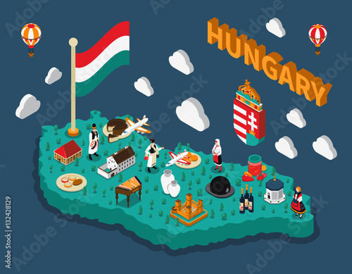 Fotografie, Tablou Hungary Isometric Touristic Map
