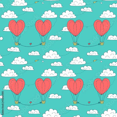 Materiał do szycia Walentynki wzór z para pływające w niebo balony w kształcie serca. Wektor ilustracja w minimalistycznym stylu, wykonane z kontury tuszem