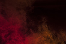 Red Smoke In A Dark Room. Texture, Background