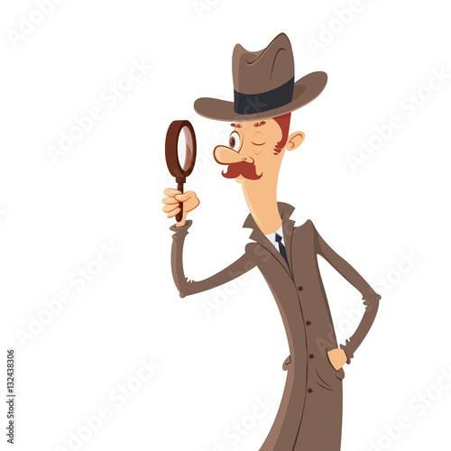 Photo  detective looking through magnifying glass vector cartoon