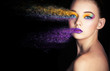 beautiful girl with creative make-up. effect photoshop. Creative make-up, studio photo, photo processing,