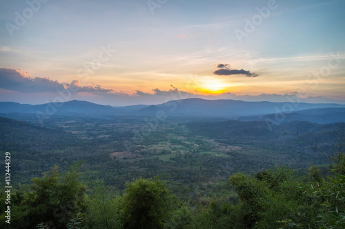 Scene Scenic Area Pha Keb Tawan (Keb Tawan Cliff) in the evening