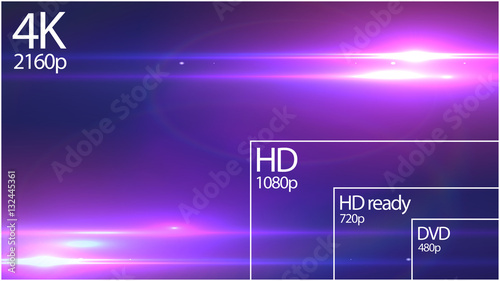 4K resolution display with comparison of resolutions  Abstract