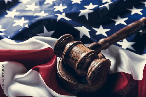 Valokuva  Wooden gavel and USA flag