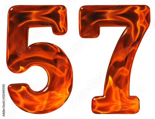 Valokuva  57, fifty seven, numeral, imitation glass and a blazing fire, is