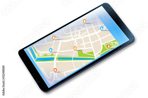 Obraz na plátně Mobilna nawigacja GPS na tablecie.