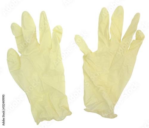 Fotografia, Obraz  Disposable plastic protective gloves. Isolated. Horizontal.