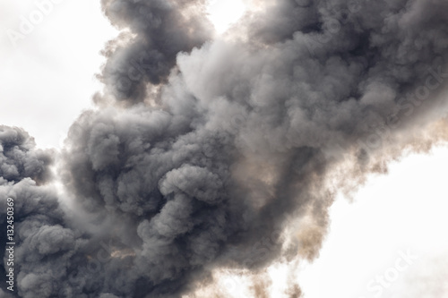 A thick smoke covering part of the sky