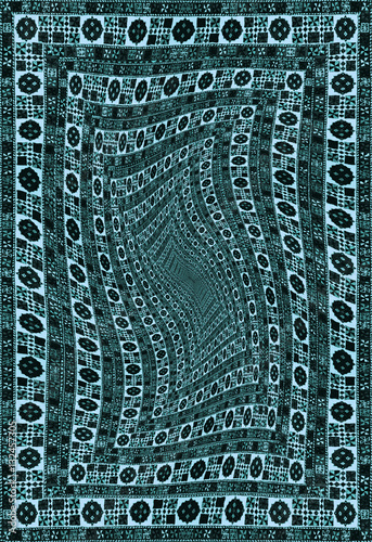 The Abstract Patterns And Tunnel With Carpet Texture Or Hypnotic Pattern From Ornamental Colored