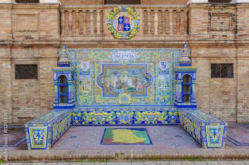 Palencia Province, Glazed tiles bench at Spain Square, Seville