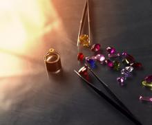 Jewel Or Gems On Black Shine Color, Studio Shot Of Beautiful Gem
