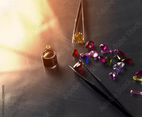 Fotografie, Obraz  Jewel or gems on black shine color, Studio shot of beautiful gem