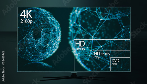 4K resolution display with comparison of resolutions  3D render