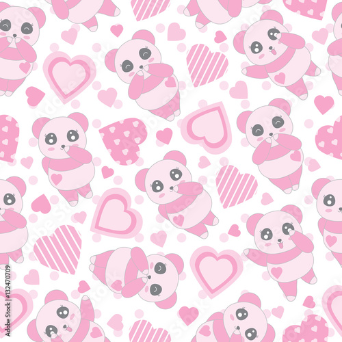 seamless background of valentine s day illustration with cute baby pink panda and love shape on polka dot background suitable for valentine s day scrap paper wallpaper and wrapping paper buy this stock illustration with cute baby pink panda