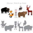 Bison fox hare rabbit Eagle Bear Deer isolated on white background, Shadow Matching Game for Preschool Children. Find the correct shadow. Vector