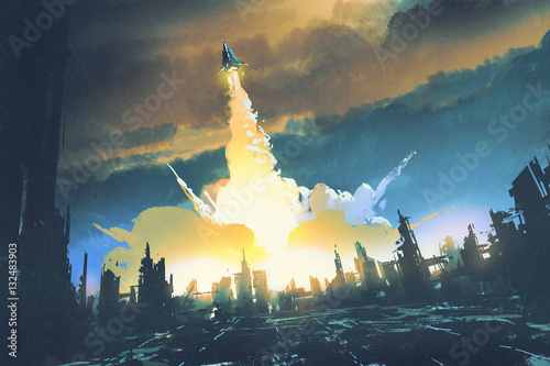Foto op Aluminium Grandfailure rocket launch take off from an abandoned city,sci-fi concept,illustration painting