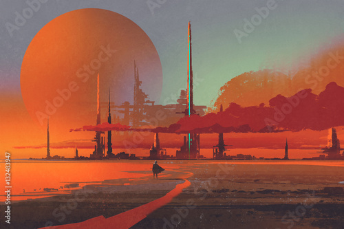 La pose en embrasure Brique sci-fi contruction in the desert,illustration digital painting