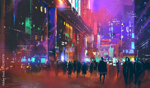 Foto people walking in the sci-fi city at night with colorful light,illustration pain