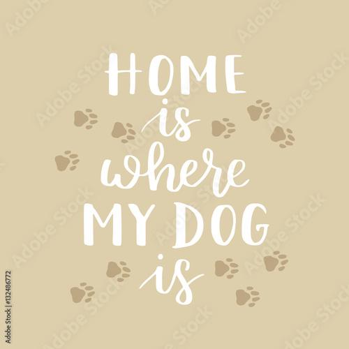 Fototapeta wzór dla miłośników psów - mój dom jest tam, gdzie mój pies