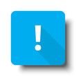 White Exclamation Mark icon on blue web button