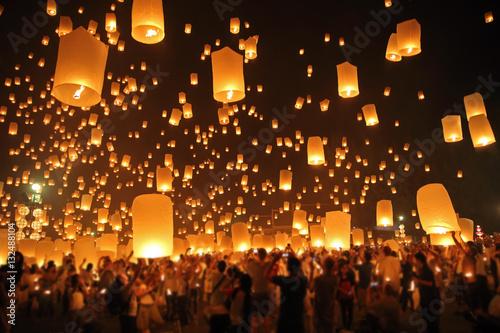 Fotografie, Obraz  Floating lantern, YeePeng,Firework Festival in Chiangmai Thailand