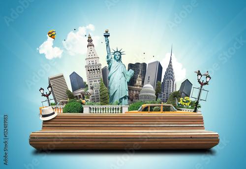 Foto auf AluDibond New York TAXI USA, classic yellow New York taxi and landmarks