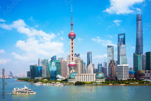 Photo Shanghai city skyline, Panoramic view of shanghai skyline and huangpu river, Sha