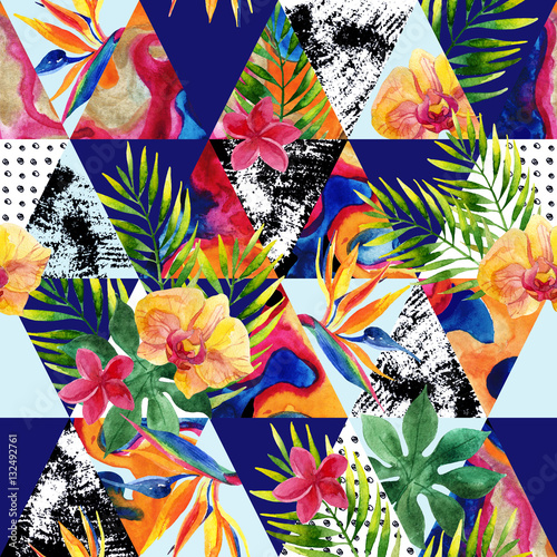 Poster Graphic Prints Abstract grunge and marble triangles with tropical flowers, leaves.