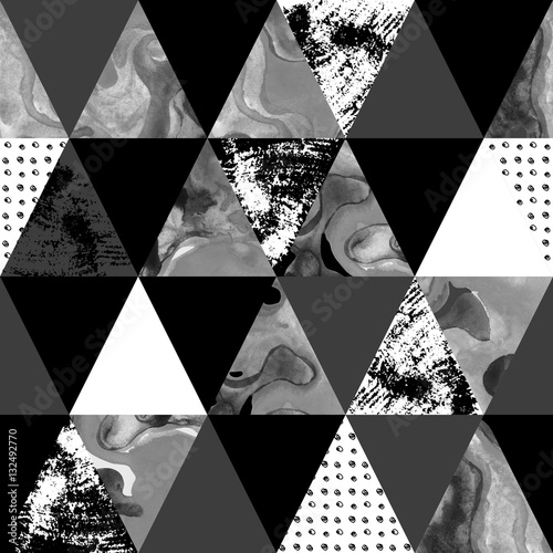 Poster Graphic Prints triangle seamless pattern with grunge and watercolor textures.
