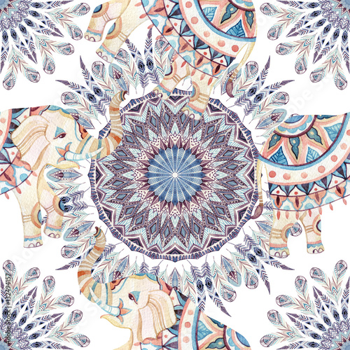 Cotton fabric Watercolor ethnic feathers abstract mandala.