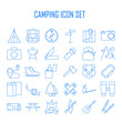 Camping icons. Outdoor equipment.