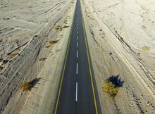 Empty Desert Road Aerial View